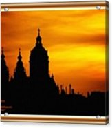 Cathedral Silhouette Sunset Fantasy L A With Decorative Ornate Printed Frame. Acrylic Print