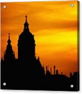 Cathedral Silhouette Sunset Fantasy L B Acrylic Print