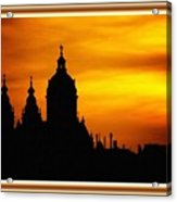 Cathedral Silhouette Sunset Fantasy L B With Decorative Ornate Printed Frame. Acrylic Print