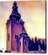 Catholic Church Building, Architectural Dominant Of The City, Graphic From Painting. Acrylic Print