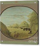 Catlin And Two Companions Shooting Buffalo Acrylic Print