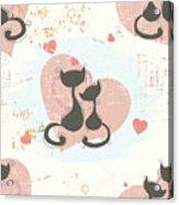 Cats In Love, Romantic Decorative Seamless Pattern Acrylic Print