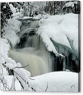 Cattyman Falls In Winter - Vertical Acrylic Print