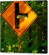 Caution T Junction Road Sign Acrylic Print
