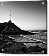 Cave Rock Cross Black N White Acrylic Print