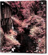 Cedar Creek Grist Mill Soft Burgundy Acrylic Print