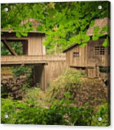 Cedar Creek Mill And Covered Bridge Acrylic Print