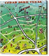 Cedar Park Texas Cartoon Map Acrylic Print