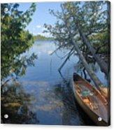 Cedar Strip Canoe And Cedars At Hanson Lake Acrylic Print