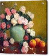Celadon Vase With Roses And Nectarines Acrylic Print