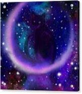 Celestial Crescent Moon Cat  Acrylic Print