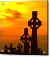Celtic Crosses In Graveyard Acrylic Print