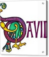 Decorative Celtic Name David Acrylic Print