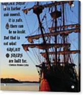 Celtic Tall Ship - El Galeon In Halifax Harbour At Sunrise Acrylic Print