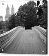 Central Park Bow Bridge With The San Remo Acrylic Print by Christopher Kirby