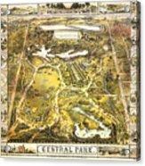 Central Park Map, Manhattan New York, 1863 Acrylic Print