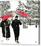 Central Park Snow And Red Umbrellas Acrylic Print