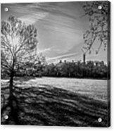 Central Park's Sheep Meadow - Bw Acrylic Print