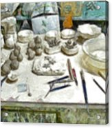 Ceramic Objects And Brushes On The Table Acrylic Print