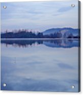 Cerknica Lake At Dawn With Snow Covered Alps In Background Acrylic Print
