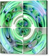 Cerulean Blue And Jade Abstract Collage Acrylic Print