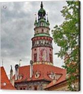 Cesky Krumlov Castle Tower In Cesky Krumlov Of The Czech Republic Acrylic Print