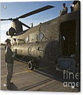 Ch-47 Chinook Crew Preparing To Load Acrylic Print
