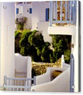 Chair On Balcony In Mykonos Acrylic Print