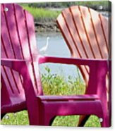 Chairs And Egret Acrylic Print