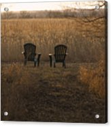 Chairs Overlook A Scenic Pasture Acrylic Print