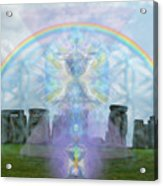 Chalice Over Stonehenge In Flower Of Life And Man Acrylic Print