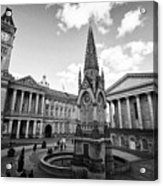 chamberlain memorial in chamberlain square with Birmingham museum and art gallery and town hall UK Acrylic Print