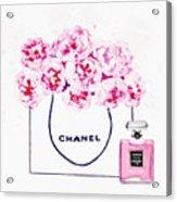Chanel Bag With Pink Peonys Acrylic Print