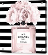 Chanel N.5, Black And White Stripes Acrylic Print
