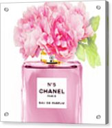 Chanel N5 Pink With Flowers Acrylic Print