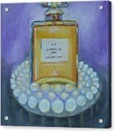 Chanel No 5 With Pearls Painting Acrylic Print