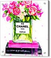 Chanel Nr 5 Flowers With  Perfume Acrylic Print