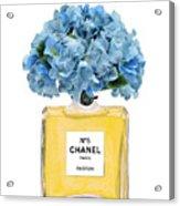 Chanel Perfume Nr 5 With Blue Hydragenias  Acrylic Print