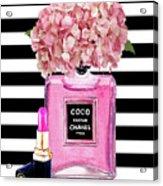 Chanel Poster Pink Perfume Hydrangea Print Acrylic Print