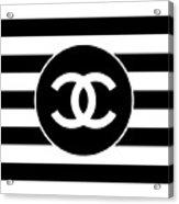 Chanel - Stripe Pattern - Black And White 2 - Fashion And Lifestyle Acrylic Print