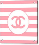 Chanel - Stripe Pattern - Pink - Fashion And Lifestyle Acrylic Print