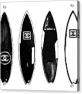Chanel Surfboard  Black And White Acrylic Print