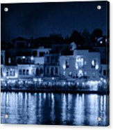 Chania By Night In Blue Acrylic Print