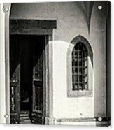 Chapel In Riomaggiore Cinque Terre Italy Bw Acrylic Print