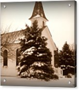 Chapel In The Snow Acrylic Print by Trina Prenzi