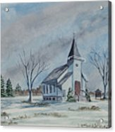 Chapel In Winter Acrylic Print