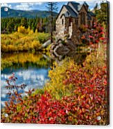 Chapel On The Rock Fall Acrylic Print by Jennifer Grover