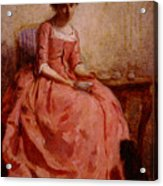 Chaplin Charles Girl In A Pink Dress Reading With A Dog Acrylic Print