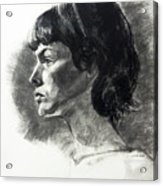 Charcoal Portrait Of A Pensive Young Woman In Profile Acrylic Print