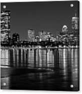Charles River Boston Ma Prudential Lit Up Not Done New England Patriots Black And White Acrylic Print